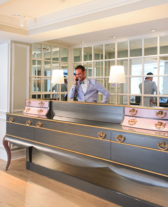 The Kimpton Brice Hotel front desk